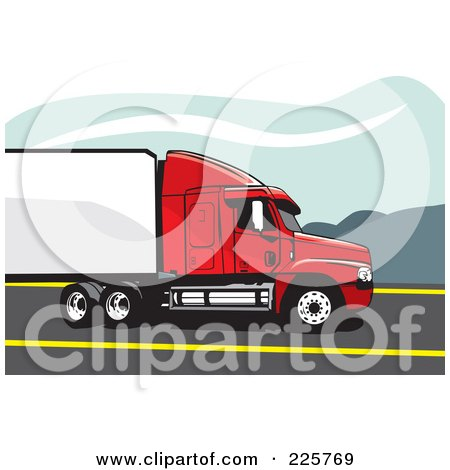 Royalty-Free (RF) Clipart Illustration of a Red And White Big Rig Truck by David Rey