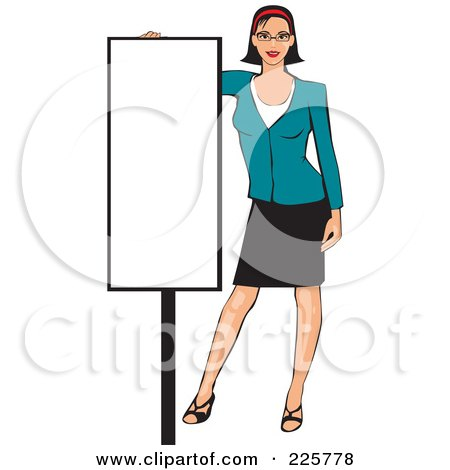 Royalty-Free (RF) Clipart Illustration of a Professional Woman Presenting A Blank Sign - 7 by David Rey