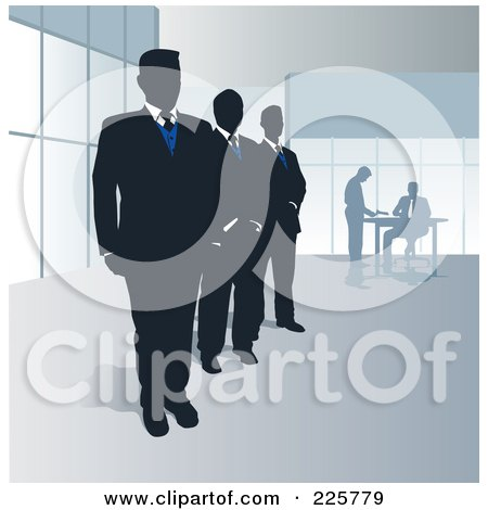 Royalty-Free (RF) Clipart Illustration of a Row Of Three Security Men by David Rey