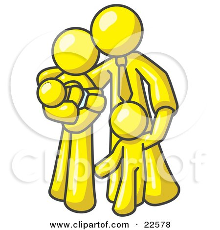 Clipart Illustration of a Yellow Family Man, a Father, Hugging His Wife and Two Children by Leo Blanchette