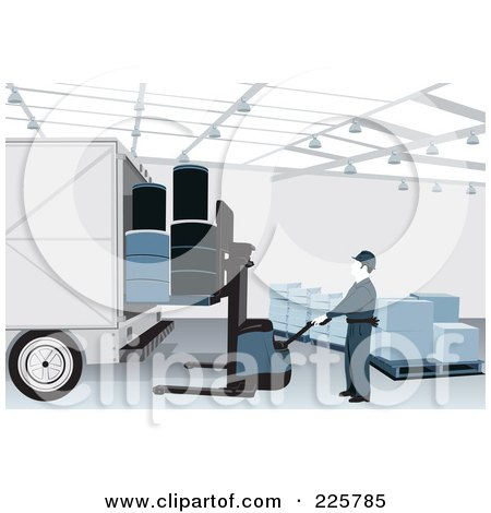 Royalty-Free (RF) Clipart Illustration of a Warehouse Worker Loading A Truck by David Rey