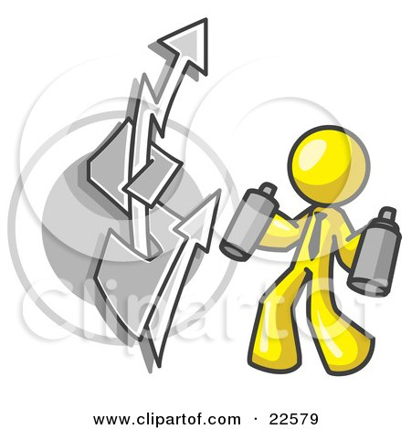 Clipart Illustration of a Yellow Business Man Spray Painting a Graffiti Dollar Sign on a Wall by Leo Blanchette