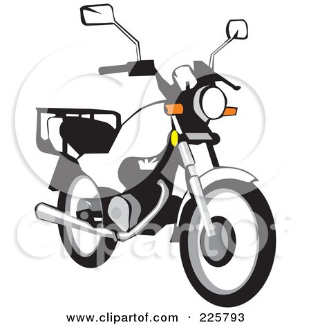 Royalty-Free (RF) Clipart Illustration of a White Motorcycle Bike by David Rey