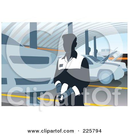 Royalty-Free (RF) Clipart Illustration of a Car Mechanic Using A Pneumatic Gun by David Rey