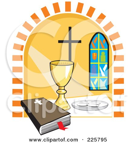 Clipart of a Sketchd Kids First Communion - Royalty Free Vector ...
