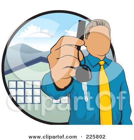 Royalty-Free (RF) Clipart Illustration of a Faceless Realtor Holding A House Key by David Rey