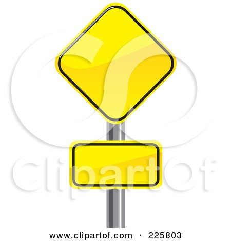 Royalty-Free (RF) Clipart Illustration of Two Yellow Road Signs On A Pole by David Rey