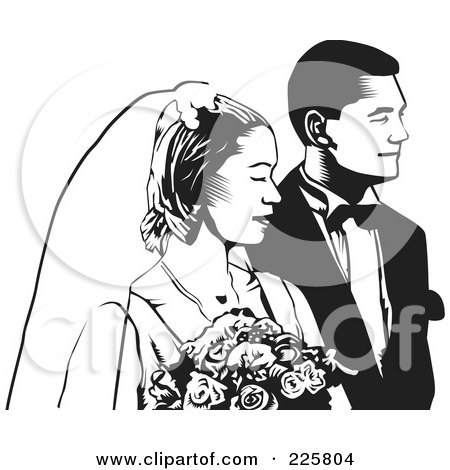 RoyaltyFree RF Clipart Illustration of a Black And White Wedding Couple