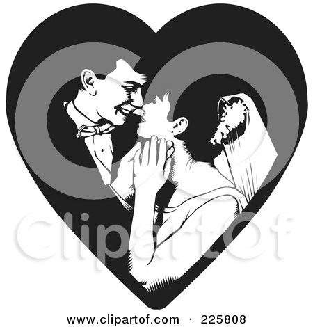 Royalty-Free (RF) Clipart Illustration of a Black And White Wedding Couple - 5 by David Rey