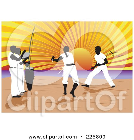 Royalty-Free (RF) Clipart Illustration of a Capoeira Of Music And Martial Arts On A Beach by David Rey