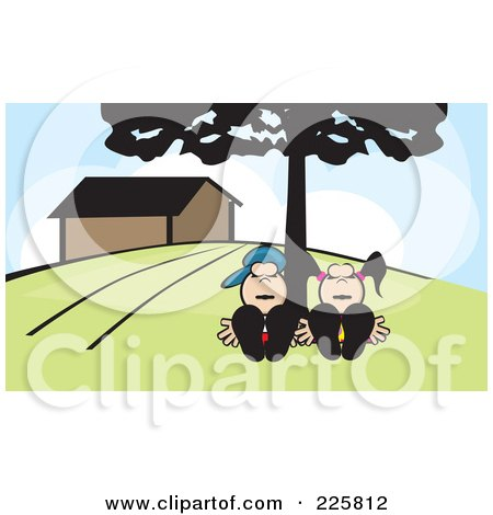 Royalty-Free (RF) Clipart Illustration of a Couple Sleeping Under A Tree by David Rey