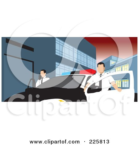 Royalty-Free (RF) Clipart Illustration of Police Men With A Car by David Rey