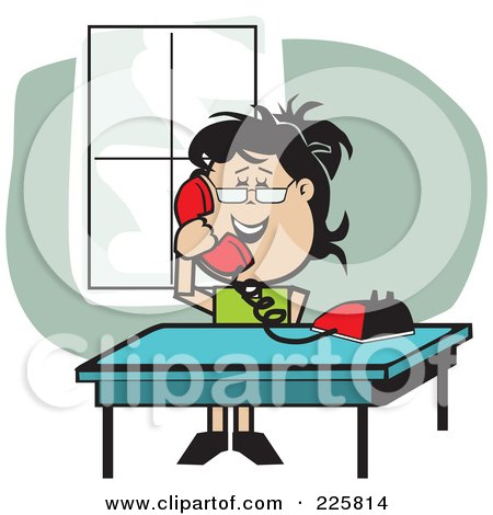 Royalty-Free (RF) Clipart Illustration of a Happy Woman Talking On A Red Phone By A Table by David Rey