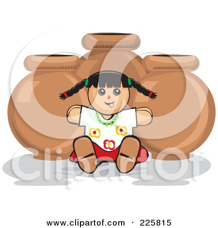 Royalty-Free (RF) Clipart Illustration of a Mexican Doll Against Pottery by David Rey
