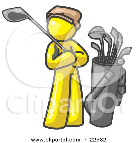 Clipart Illustration of a Yellow Man Standing by His Golf Clubs by Leo Blanchette