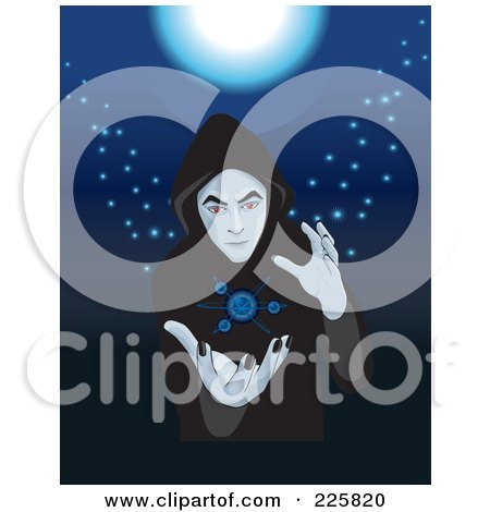 Royalty-Free (RF) Clipart Illustration of a Cloaked Fortune Teller by David Rey