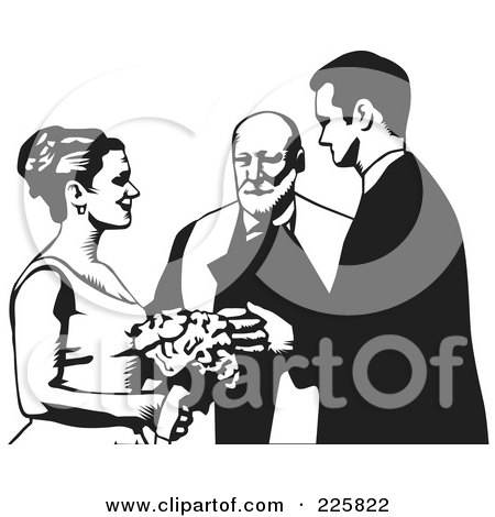 Royalty-Free (RF) Clipart Illustration of a Black And White Wedding Couple - 1 by David Rey