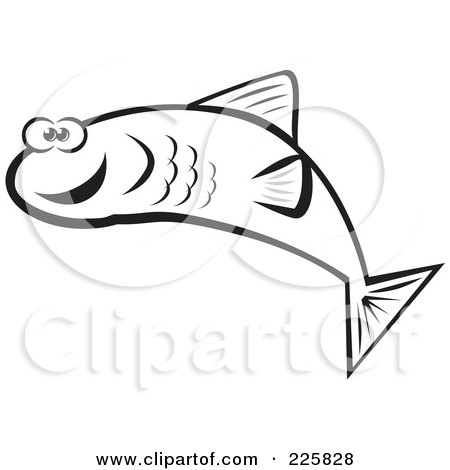 Royalty-Free (RF) Clipart Illustration of a Black And White Happy Fish by David Rey