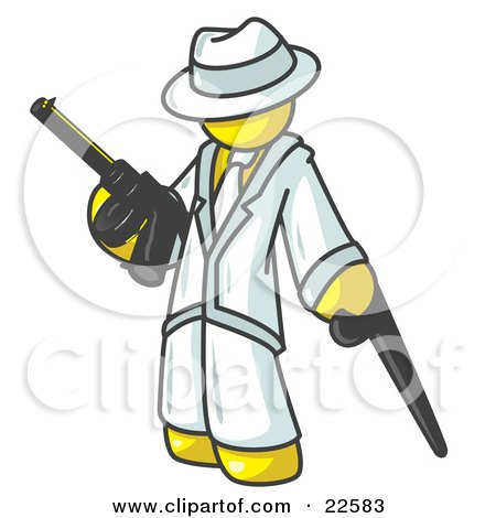 Clipart Illustration of a Yellow Gangster Man Carrying a Gun and Leaning on a Cane by Leo Blanchette