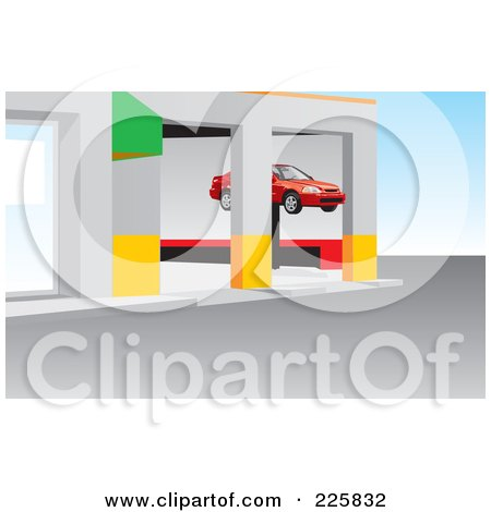 Royalty-Free (RF) Clipart Illustration of a Car On A Lift In A Repair Garage by David Rey