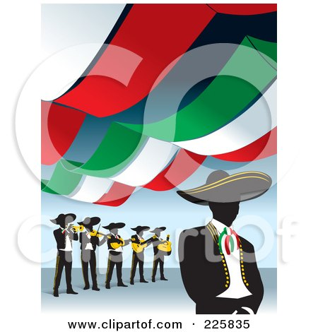 Royalty-Free (RF) Clipart Illustration of a Mariachi Band Under Banners by David Rey