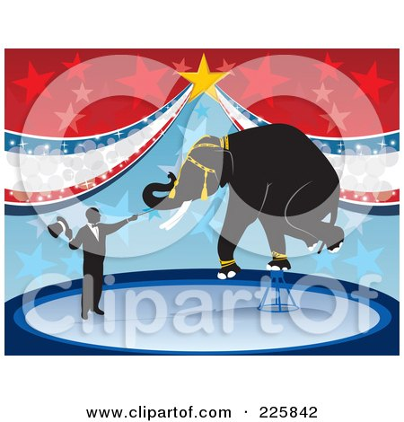 Royalty-Free (RF) Clipart Illustration of a Elephant Balanced On A Stool In A Circus by David Rey