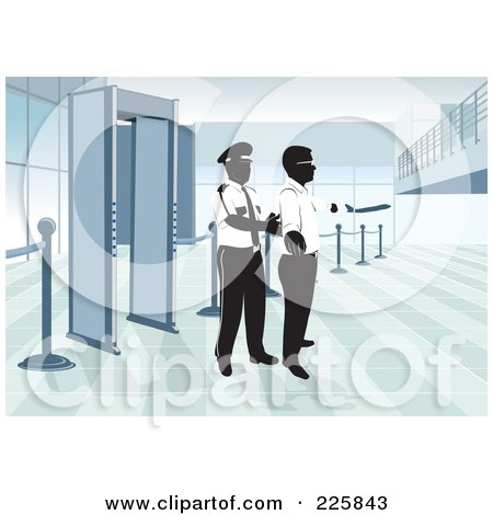 Royalty-Free (RF) Clipart Illustration of an Airport Security Man Padding Down A Man by David Rey