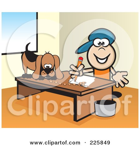 Royalty-Free (RF) Clipart Illustration of a Boy Doing Homework While His Dog Eats On His Desk by David Rey