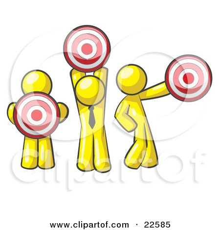 Clipart Illustration of a Group Of Three Yellow Men Holding Red Targets In Different Positions by Leo Blanchette
