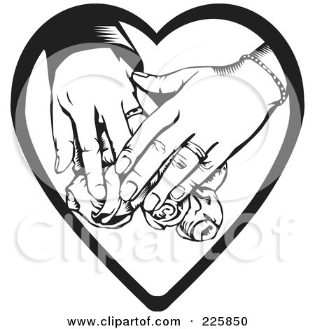 Royalty-Free (RF) Clipart Illustration of a Couple's Hands Over Roses On A Heart by David Rey