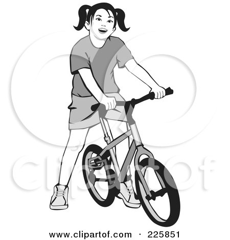 Royalty-Free (RF) Clipart Illustration of a Grayscale Girl On A Bicycle by David Rey