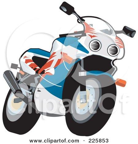 Royalty-Free (RF) Clipart Illustration of a Fireblade Bike by David Rey