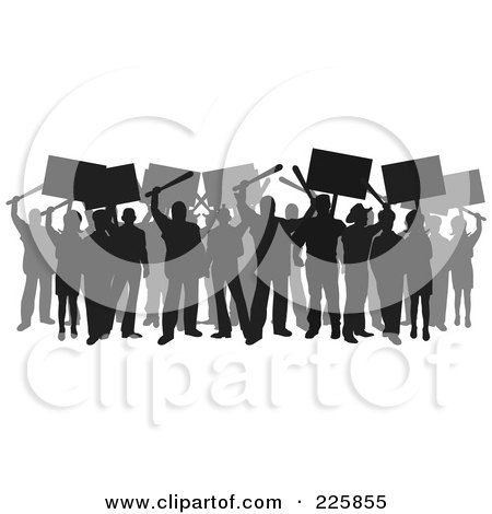Royalty-Free (RF) Clipart Illustration of a Silhouetted Crowd Rioting by David Rey