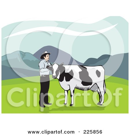 Royalty-Free (RF) Clipart Illustration of a Dairy Cow And Cowboy In A Pasture by David Rey