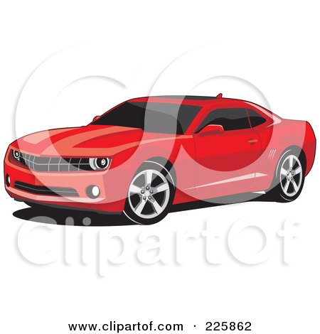 Royalty-Free (RF) Clipart Illustration of a Red Camaro Car With Black Tinted Windows by David Rey