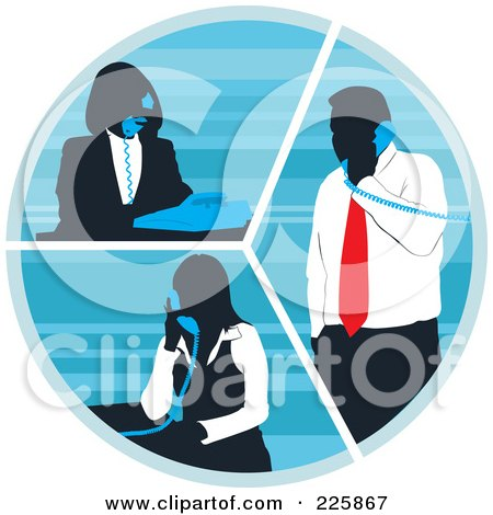 Royalty-Free (RF) Clipart Illustration of Silhouetted Business Women And A Man Talking On Phones In A Circle by David Rey