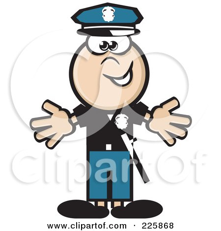 Royalty-Free (RF) Clipart Illustration of a Police Man Holding His Arms Out by David Rey