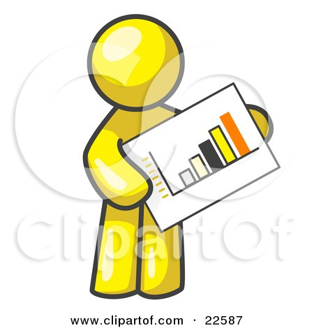 Clipart Illustration of a Yellow Man Holding A Bar Graph Displaying An Increase In Profit by Leo Blanchette