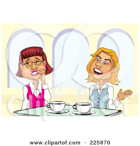 Royalty-Free (RF) Clipart Illustration of a Two Businesswomen Gossiping Over Coffee by David Rey