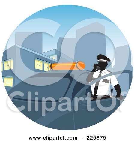 Royalty-Free (RF) Clipart Illustration of a Police Man Standing By His Car And Making A Call by David Rey