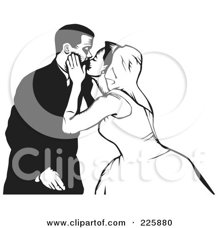 Royalty-Free (RF) Clipart Illustration of a Black And White Wedding Couple - 4 by David Rey