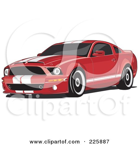 Royalty-Free (RF) Clipart Illustration of a Red Mustang With White Racing Stripes by David Rey