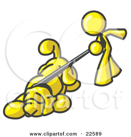 Clipart Illustration of a Yellow Man Walking a Dog That is Pulling on a Leash by Leo Blanchette