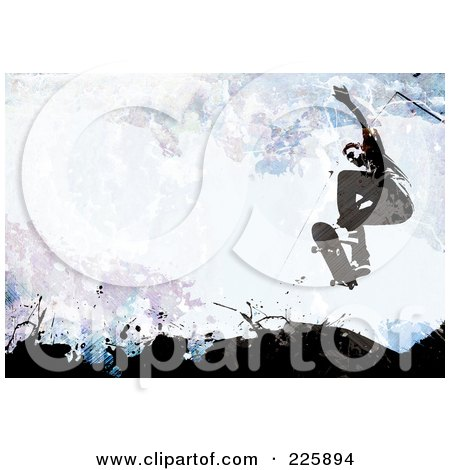 Royalty-Free (RF) Clipart Illustration of a Grungy Skateboarder Over Black, Blue And Purple Splatters by Arena Creative