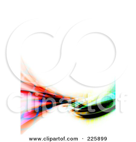 Royalty-Free (RF) Clipart Illustration of a Funky Rainbow Swoosh With White Copyspace by Arena Creative
