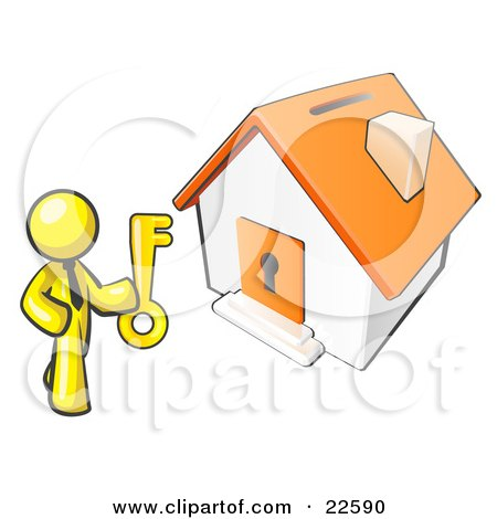 Clipart Illustration of a Yellow Businessman Holding A Skeleton Key And Standing In Front Of A House With A Coin Slot And Keyhole by Leo Blanchette