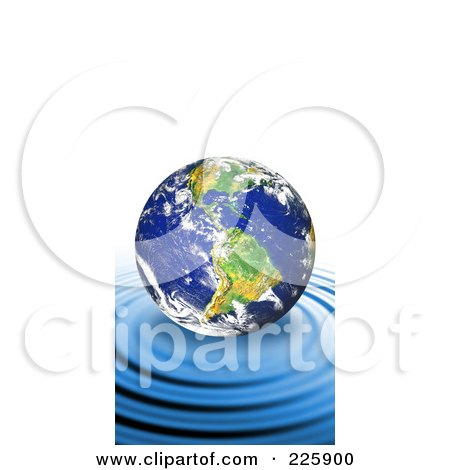 Royalty-Free (RF) Clipart Illustration of a 3d Earth Floating On Top Of Rippling Blue Water by Arena Creative