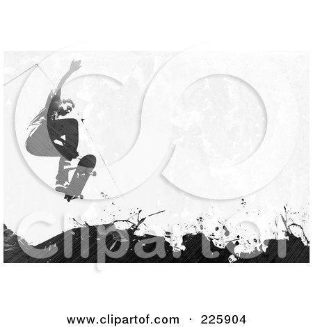 Royalty-Free (RF) Clipart Illustration of a Grungy Skateboarder Over Black Splatters by Arena Creative