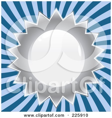 Royalty-Free (RF) Clipart Illustration of a Shiny Silver Seal Design Over Blue Rays. by Arena Creative