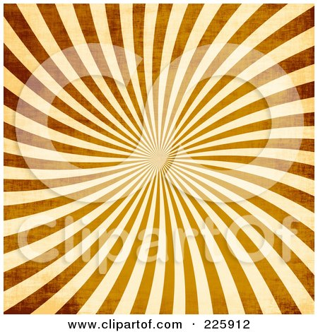 Royalty-Free (RF) Clipart Illustration of a Grungy Brown And Beige Ray Vortex Background by Arena Creative